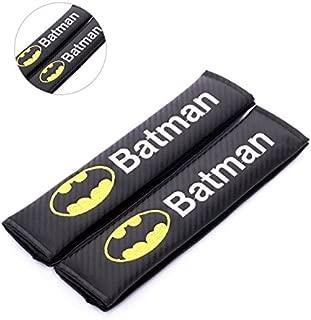 Amooca Carbon Fiber Seat Belt Strap Cover for Any Car-Black with Batman Logo(Shoulder Strap)