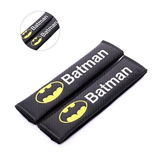 Amooca Carbon Fiber Seat Belt Strap Cover Fit for Any Car-Black with Batman Logo (Shoulder Strap)