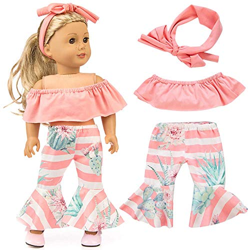 yijing Doll Clothes Outfits Set Kids Toy Shirt Pants Suit Headband 18 Inch American Toy Girl Doll Accessory Toy Gift (Pink)