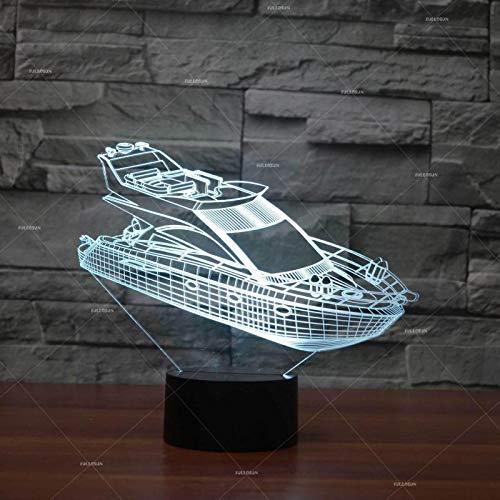 Solo 1 pieza Lámpara de noche de yate 3d Lámparas de mesa LED de ahorro de energía de acrílico para sala de estar Habitación infantil de Navidad Lámpara de escritorio 3D