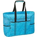 LIVACASA Borsa da Spiaggia Grande con Cerniera 67x43CM Tasche Sacchetto da Spiaggia Per Viaggio Borsetta Stoccaggio Organizzator Beach Bag Multifunzionale Vacanze Estive Pieghevole Blu
