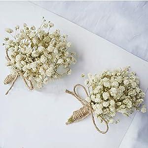 Yokoke Handmade Artificial Succulent Corsage Wristlet Realistic Berry Green Plants Boutonniere for Wedding Decor 2 Pcs (Boutonniere Gypsophila Dried Flowers)