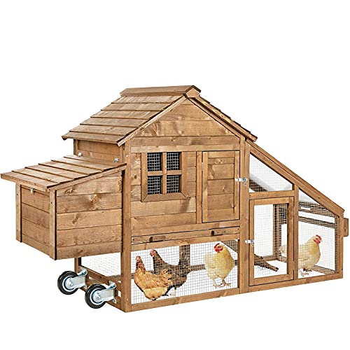 AVV Portable Chicken Coop for 4-6 Chickens Tractor with Wheels Movable Hen House Mobile Rabbit Cage Coup Poultry Care Supplies Large