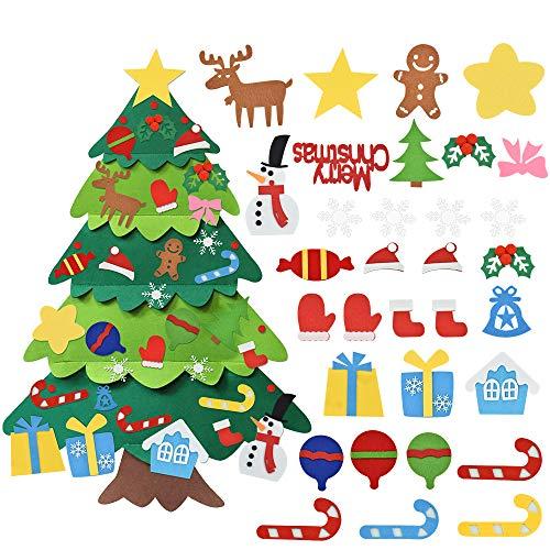 LYTIVAGEN Árbol de Navidad de Fieltro Decoración del Árbol de Navidad Colgante Adornos DIY Árbol de Navidad Juguetes Educativos Regalo de Fieltro para Niño Fiesta Navidad Pared Puerta