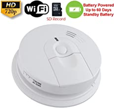 SecureGuard 60 Day Battery Powered WiFi Smoke Detector Fire Alarm Spy Camera (60 Day Battery, 16GB SD)
