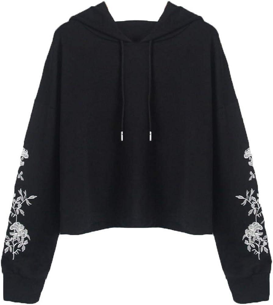 Girls' Hoodie, Misaky Casual Flower Embroidery Long Sleeve Short Hooded Pullover Sweatshirt Blouse Tops