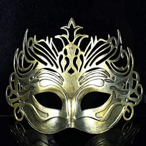 XWYWP Máscara de Halloween Soldado Masculino Filigrana Corte láser Hombres Venecia s Ball Mascarillas oro
