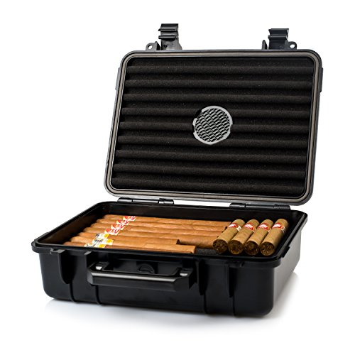 Jamestown Cigar Plastic Travel Humidor Case - Waterproof, Dustproof, Shockproof Premium Plastic Hard Shell Case - Built in Foam Humidor and Holds Up to 50 Full-Sized Cigars (Large)
