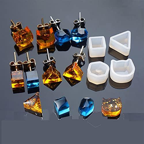 Moldes de Resina 4 estilo geométrico triángulo gato formas pendiente de silicona molde de silicona haciendo joyería resina fundición bricolaje estudiar pendiente molde herramienta ( Color : 01 )
