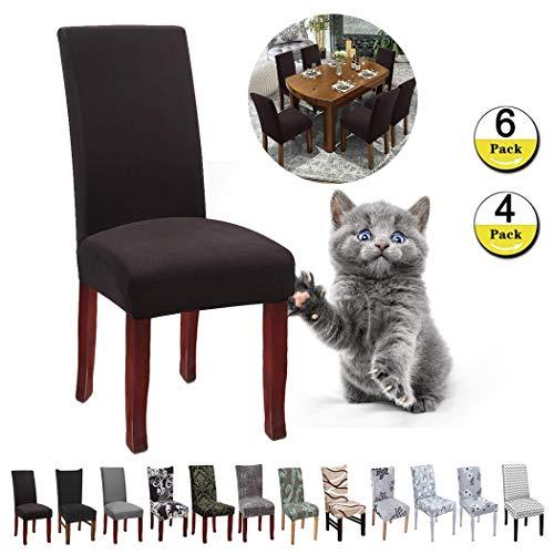 JunYito Stuhlhussen 4er 6er Elastische Set Stuhlhussen Universal Stretchhusse Stuhlbezug Stretch für Stuhl Esszimmer (L-Braun/Kaffee, 6...