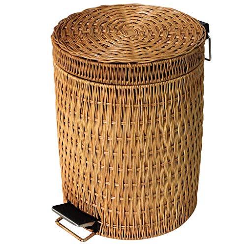 Mülleimer für den Innenbereich Ibuprofen Abfalleimer Abfalleimer Bambus und Rattan gesponnene Abfalleimer Haushalt Wohnzimmer Schlafzimmer Küche Badezimmer Kreative Pedal Typ mit Deckel Braun, Mülleim