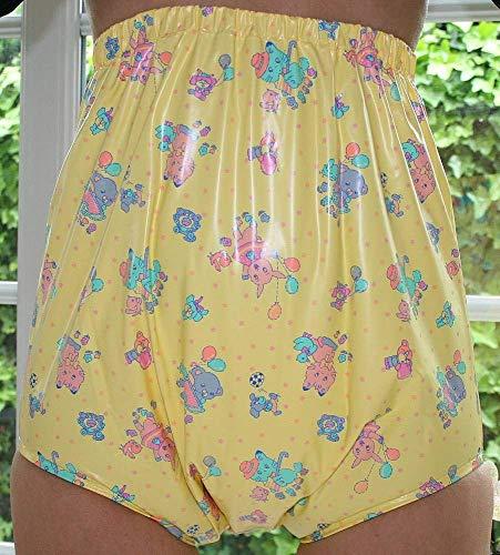Top PVC Adult Baby Inkontinenz Windelhose Gummihose gelb kindermotiv (XL)