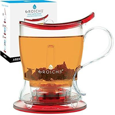 GROSCHE Aberdeen PERFECT TEA MAKER Tea pot with coaster, Tea Steeper, Easy Tea Infuser, 17.7 oz. 525 ml, EASY CLEAN Tea Steeper, BPA-Free - RED teapot
