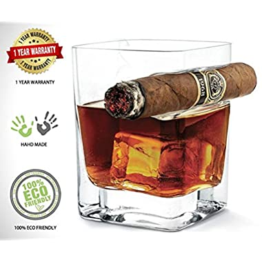 Whiskey Glass with Cigar Holder for Whisky Lovers and Cigar Cigarette Lovers, Old Fashioned Crystal Cup with Rack,Suitable for Beer, Bourbon, Brandy, Liquor and Wine