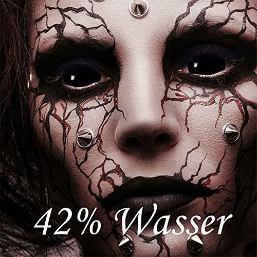 Funlinsen Black Sclera-Markenqualität- 1 PAAR-D-22mm-schwarze Linsen,Cosplay, Larp, Zombie Kontaktlinsen, Crazy Funlinsen, Halloween, Fastnacht,Vampir - 7
