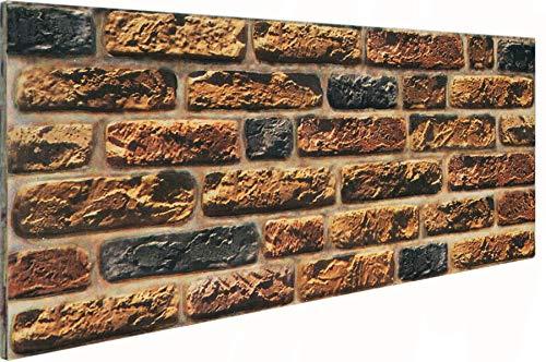 3D Wandverkleidung Wandpaneel aus Styropor in Steinoptik für Wohnzimmer, Küche, Terrasse oder Schlafzimmer - Ziegeleffekt - 100 cm x 50 cm x 2 cm, Typ 111