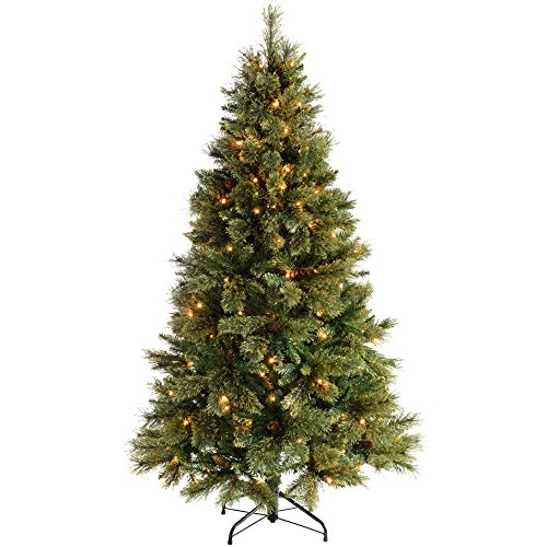 WeRChristmas 6 ft Shimmering Champagne Pre-Lit Multi-Function Christmas Tree with 300 Warm White LED Lights/ 8 Setting Controller/ Easy Build Hinged Branches