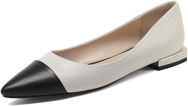 Nine Seven Genuine Leather Women's Pointed Toe Flat Heel Handmade Two Tone Cap-Toe Pumps