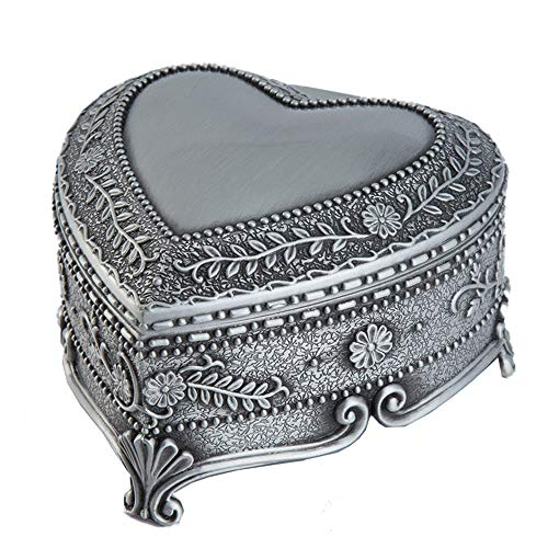 Vintage Jewellery Gift Box Zinc Alloy Jewelry Box, Large Olive Branches and Leaves With Flannel Heart-shaped Non-wood Storage Box Retro Collector (Color : Silver, Size : 8x8x5cm)