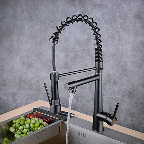Kitchen Faucet Commercial Style Sturdy Pre Rinse Spring Pull Down Kitchen Sink Faucet with Sprayer,Oil Rubbed Bronze, Beelee BL7092B