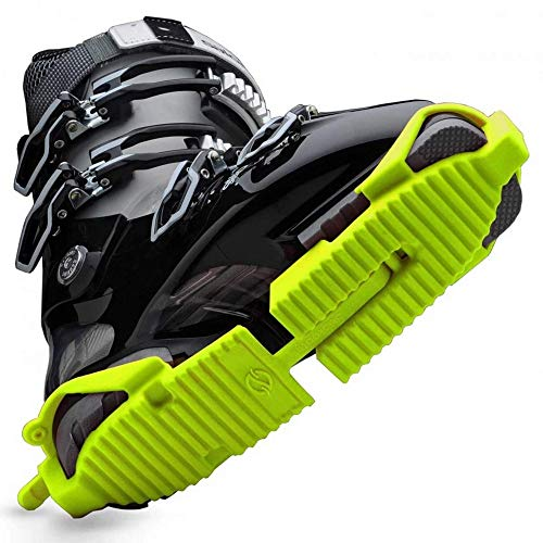 Ski Skooty Skiing Boot Traction Cleats - (1-Pair, Neon Green) - Adjustable Track Comfort Soles for Protection and Walking in Ski Boots