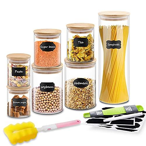 Bestdon Tarros de Vidrio de Almacenamiento, Juego de 7 Botes de Cristal con Tapa Hermético de Bambú Para Té, Especias, Cereales y Cocina