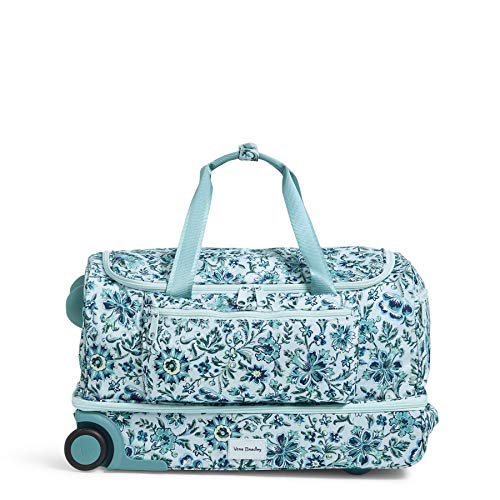 Vera Bradley Women's Recycled Lighten Up ReActive Foldable Duffel Rolling Suitcase, Cloud Floral, One Size