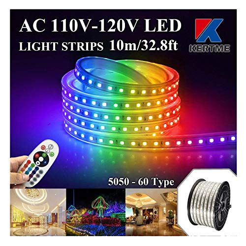 KERTME 5050-60 Type AC 110-120V RGB LED Strip Lights, Flexible/Waterproof/Dimmable/Multi-Colors/Multi-Modes LED Rope Light + 24 Keys Remote for Home/Garden/Building Decoration (32.8ft/10m, RGB)