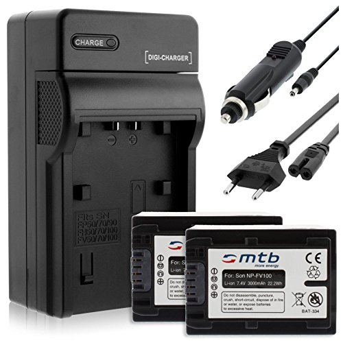 2 Akkus + Ladegerät (KFZ, Netz) für Sony NP-FV100 / DEV-, DCR-, HDR-, NEX-.Siehe Liste!