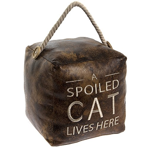 Lesser & Pavey Faux Leather Distressed Vintage Cube A Spoiled Cat Lives Here Door Stop [UK-Import]