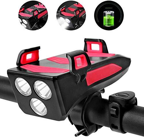 enomaa 4 in 1 Fahrrad Licht Fahrrad Horn Glocke Handyhalter Power Bank Fahrrad Taschenlampe Fahrrad vorne Fahrradzubehör(Farbe Rot)