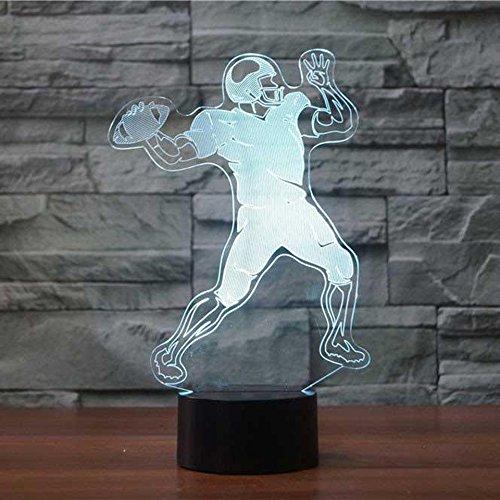 3D Rugby American Football Lampe optische Illusion Nachtlicht, 7 Farbwechsel Touch Switch Tisch Schreibtisch Dekoration Lampen perfekte Weihnachtsgeschenk mit Acryl Flat ABS Base USB Spielzeug
