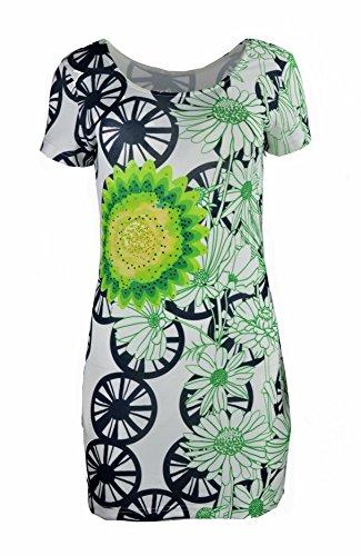 TATTOPANI Dames Jurk met korte mouwen met Multi kleuren Patroon Print & Strass steentjes