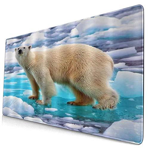 DYCBNESS Alfombrilla de Ratón Gaming Oso Polar Caminando sobre Animales de Tundra de Cristal Azul Blanco Superficie Texturizada Impermeable Base de Goma Antideslizante para Gamers Oficina