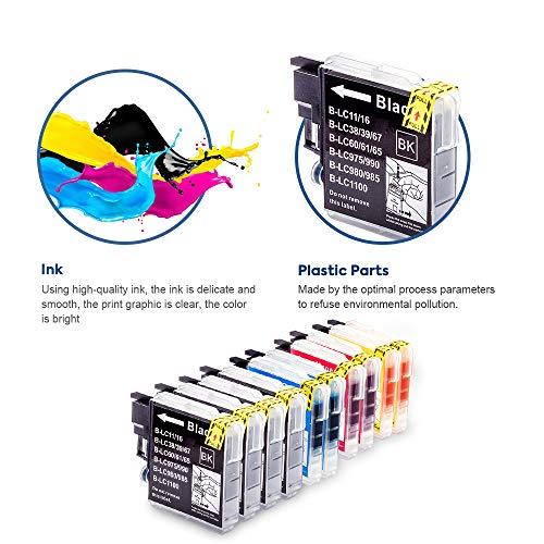 SMARTOMI LC1100 LC 1100 compatibles con Brother LC-1100 Cartucho de Tinta, para Brother Printer MFC-290C 490CW 5490CN 6490CW 490CN 930CDN 670CD 5890CN DCP-145C 165C 185C 165C 385C 535CN