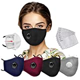 4pcs Safety Cotton Face With 8pcs Filters, Washable and Reusable, Face Bandanas with Breathing valve With Activated Carbon Filter Replaceable Filters Haze Dust Protection Face Health for Adults