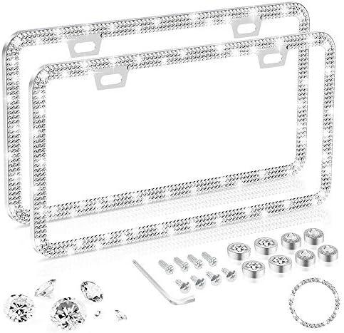 Delixike White License Plate Frames for Women Men Luxury Handmade Thin Border Stainless Steel product image