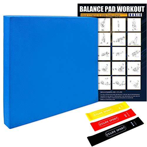 CCLIFE Balance Pad 50x40x6 mit Latexbänder Übungsposter Balanceboards Gleichgewicht Trainer Widerstandband Fitnessbänder, Balance Kissen für effektives Balancetraining, Farbe:Balance Pad - Blau