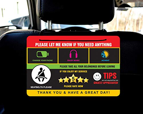 Rideshare Rating Tips Accessories Driver Signs Display Card (Pack of 2)