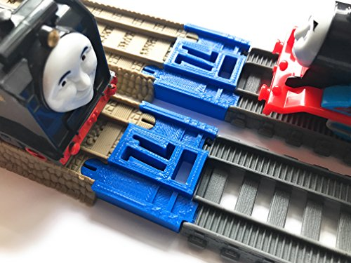 TrainLab Track Adapters Compatible with Trackmaster (Gray 2014+) to Trackmaster (Brown 2009) Train Tracks (2pc) (Blue)
