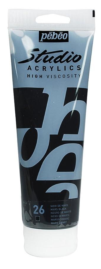 Pebeo Studio Acrylics High Viscosity, Fine Acrylic, 250 ml Tube - Mars Black