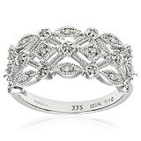 Naava Anillo para Mujer de Oro Blanco 9K con Diamantes Talla 14