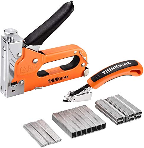THINKWORK 3-in-1 Staple Gun, Nailer Gun with 2100 Staples and Stapler Remover, Manual Stapler, Heavy Duty Staple Kit for Upholstery, Fixing Material, DIY,Decoration, Carpentry, Furniture.