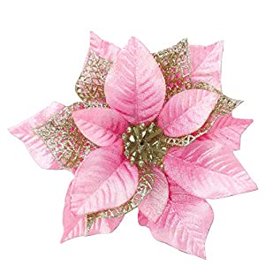 TURNMEON 12 Pack 8.7 Inch Christmas Glitter Poinsettia Artificial Silk Flowers Picks Christmas Tree Ornaments for Gold Christmas Tree Wreaths Garland Holiday Decoration (Pink)