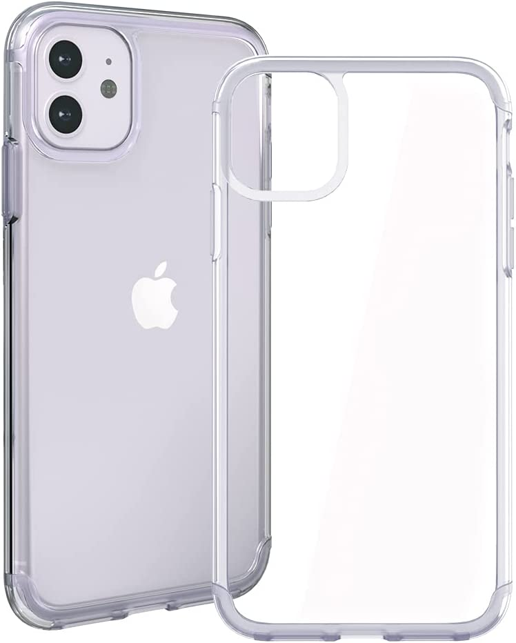 Transparent iPhone 11 Case Purple Trim Full-Protective Matching Color Slim Clear iPhone 11 Case for iPhone 6.1inch (Purple)