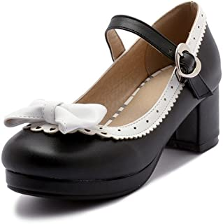 ELFY Women's Cute Lolita Cosplay Shoes Bow Mid Chunky Heel Mary Jane Pumps