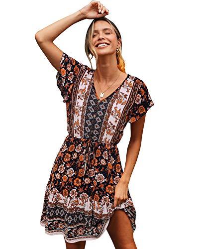 SOLERSUN Women's Summer Casual V Neck Short Sleeve Vintage Floral Print Swing Mini Dress