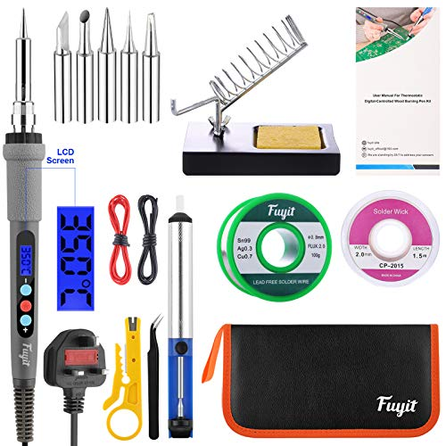 Fuyit LCD Soldering Iron Kit 15pcs Welding Tool Set with Thermostatic Digital-Controlled Pen 60W 220V Adjustable Temperature 180°C- 480°C with Lead Free Solder Wire 100g
