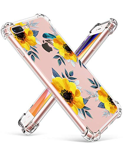 GVIEWIN Clear Case for iPhone 8 Plus/7 Plus, Flower Pattern Design Soft & Flexible TPU Ultra-Thin Shockproof Transparent Floral Cover, Cases for iPhone 7 Plus/8 Plus 5.5 Inch, Sunflowers/Yellow
