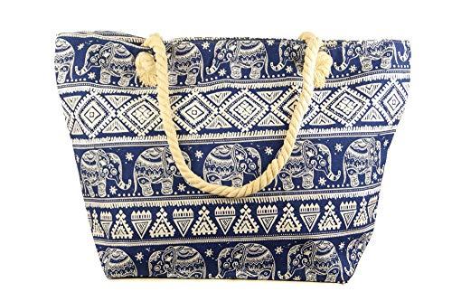 Jay-Fashionbox Damen Elefanten Strandtasche Canvas Sommertasche Shopper Tasche mit Ethno Muster mit Motiv Henkel Badetasche Schultertasche für Strand Pool Schwimmbad Shopping Blau Schwarz (Blau)